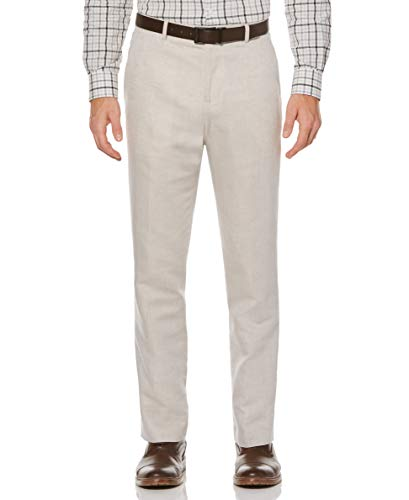 Perry Ellis Men's Standard Linen Suit Pant, Natural Linen, 30W X 30L