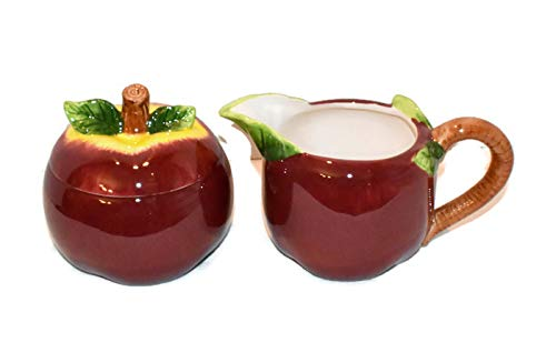 New Red Delicious Apple 3-D Creamer & Sugar Jar with Lid Set