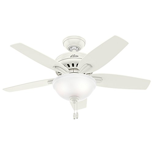 """HUNTER 51086 Newsome Indoor Ceiling Fan with LED Light and Pull Chain Control, 42"""", Fresh White"""