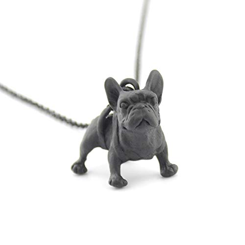 VAWAA Metal Negro Francés Bulldog Perro Colgante Collar Accesorios Largo Maxi...