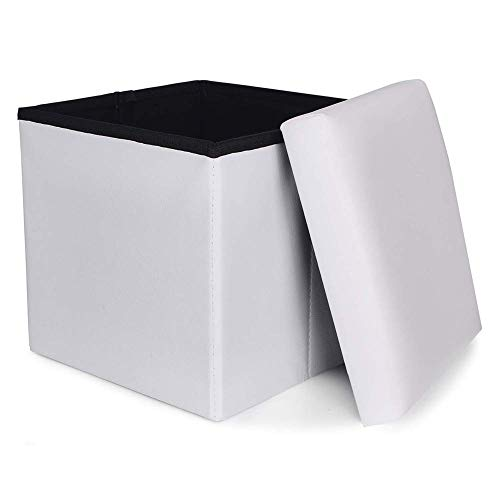 FSYGZJ Cube Faux Leather Storage Ottoman Foot Stool Seat,Pouf Bench Seat Folding Toy Box Pouf Chest For Home & Office-White 37x37x38cm(15x15x15inch)