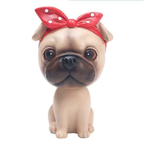 LUCKY Luckyrainbow, Cabeza de Bobble Perros Coche Dash Adornos Cachorro Perros Mascota Rocking Head para Coche Vehículo Decoración Coche