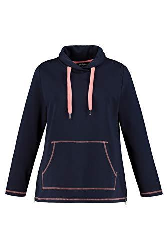 Ulla Popken Damen Größen Sweatshirt, Blau (Marine 74913676), 46-48