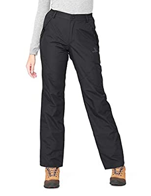CAMEL CROWN Women's Snow Ski Pants Insulated Fleece Lined Waterproof Windproof Outdoor Sports Mountain Hiking Pants Black L