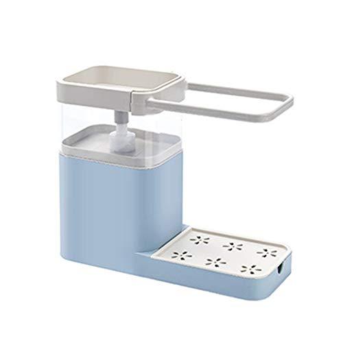 Dispensador de jabón 4 en 1 para limpiar la prensa a la bomba de jabón combina soporte de esponja barra de toalla y estante de drenaje organizador de cocina