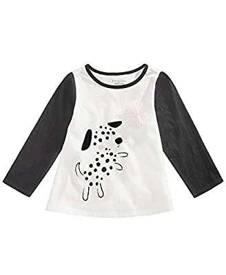 First Impressions Baby Girls Spotty Dog Graphic Cotton Shirt (Angel White, 24 Months)