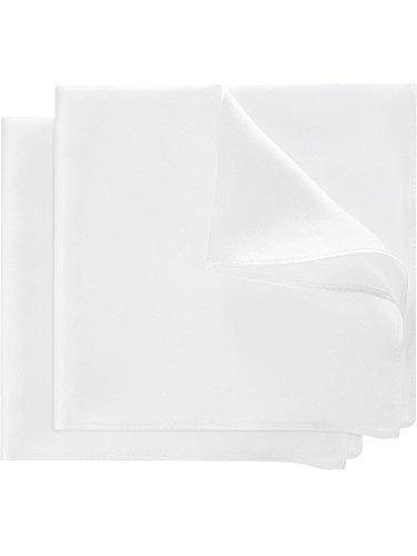 2 Piezas de Pañuelo Cuadrado de Bolsillo Tejido de Seda Pura 13,8 por 13,8 Pulgadas con Caja de Regalo para Hombres Boda, Tuxedo, Ocasiones Especiales, Blanco
