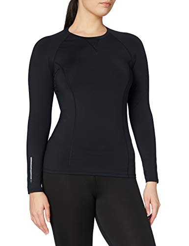 Amazon Brand - AURIQUE Top deportivo de running para mujer, Negro (Black), 42, Label:L