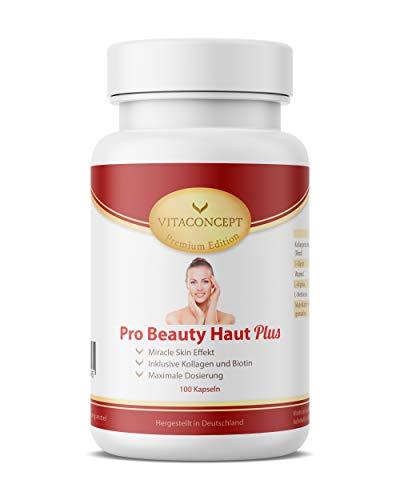 Pro Beauty Haut Plus - 100 Kapseln - hochdosierte & einzigartige Wirkstoffkombination - verbesserte Rezeptur - made in Germany - Premium Edition von VITACONCEPT