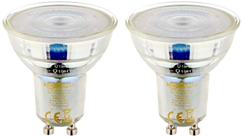 Amazon Basics – LED-Leuchtmittel, GU10-Spots, 4,6W (entspricht 50-W-Glühbirne), Glas, 16Stück