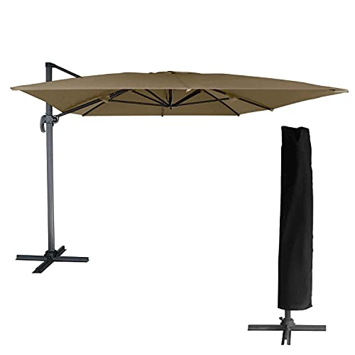 BENEFFITO OAHU - Parasol Déporté - Inclinable Rotatif et Rabattable - Housse de Rangement - Protection UV - Ouverture Facile - Taupe/RECTANGULAIRE 3X4M
