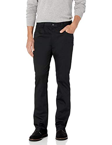 Van Heusen Men's Flex Slim Fit 5 Pocket Pant, Black, 36W x 32L