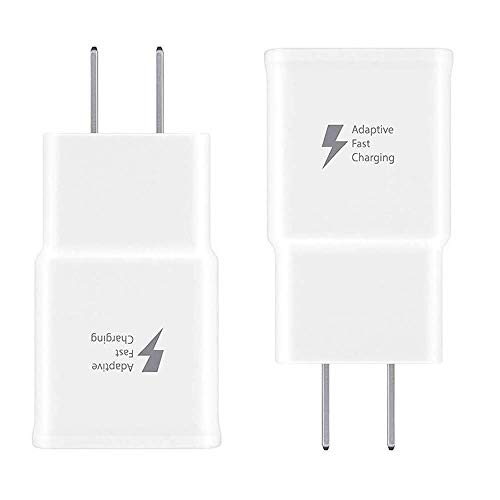Samsung Adaptive Fast Charging Adapter Quick Charge Charging Block Wall Charger Plug Compatible with Samsung Galaxy S6/S7/S8/S8+/S9/S10+/Edge/Note8/Note9(2 Pack) (White)