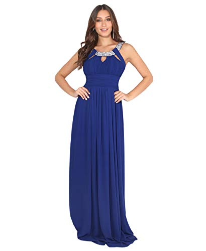 KRISP Damen Abendkleider Lang Chiffon Strasssteine Elegante Kleider, Königsblau (3577), XL = EU 44, 3577-ROY-16