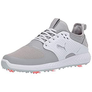 Puma Golf Men's Ignite Pwradapt Caged Golf Shoe, Gray Violet-Puma Silver-Puma White, 10 M US