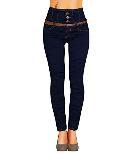 Danaest Damen Jeans Hose Skinny Corsage High Waist Röhrenjeans inkl. Gürtel (434), Dunkelblau , 36 (Tag S)
