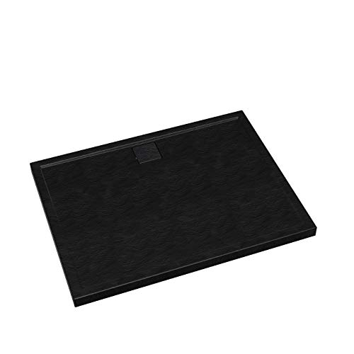Duschwanne Duschtasse Schwarz Flach Duschplatte Duschboard Duschbecken Atira (90x120x5)