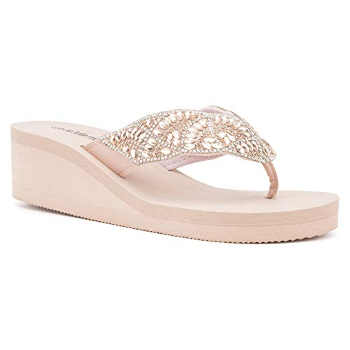 Olivia Miller Women's Shoes, Gallery Jewel Thong Style Slip On Blush EVA Platform Wedge Sandals