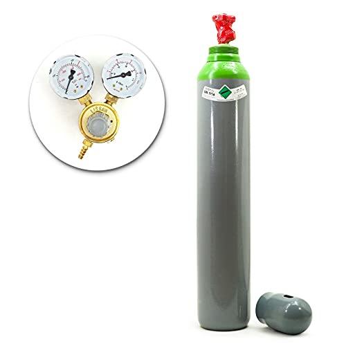 Botella de gas con reductor, mezcla de argón (82%) + CO2, 10 litros, 2,3 m3, gas de soldadura MIG/MAG WIG