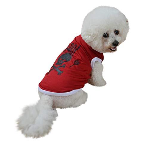 Sylar Ropa De Halloween para Mascotas, Camisetas Sin Mangas para Perros Disfraces De Festival para Mascotas Halloween Chaleco De Perro Cuello Redondo con Estampado Cráneo