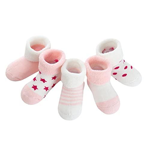 5pairs Warm Baby-Socken Soft Newborn Knöchel Dicke Socken Exquisite Säuglingssocken aus Baumwolle für Herbst und Winter Pink Star (0 bis 6 Monate) Kosmetische Toolkits