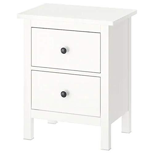 Hemnes Ikea - Cómoda con 2 cajones (lacada, madera maciza, 54 x 66 cm), color blanco