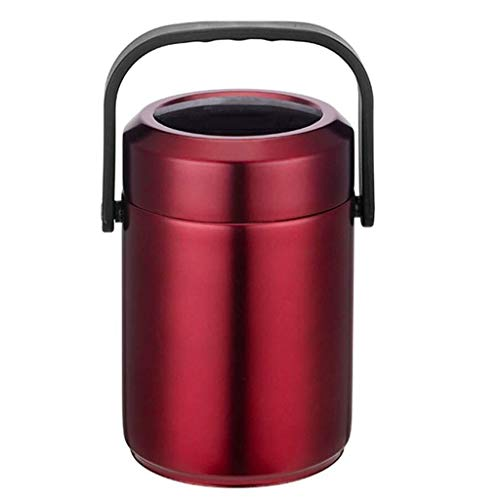 Thermisch geïsoleerd Potje Stainless Steel Voedsel Kolven for warm eten Thermosfles for Travel Lunch At Work Soep 2L (Color : Red)