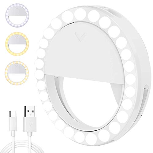 Selfie Ring Light,[4 Light Modes] [Rechargeable] with LED Lights, Adjustable Brightness 600mAh Clip on Ring Light for Phone Laptop Photography,Live Camera,Vlogs,Make up