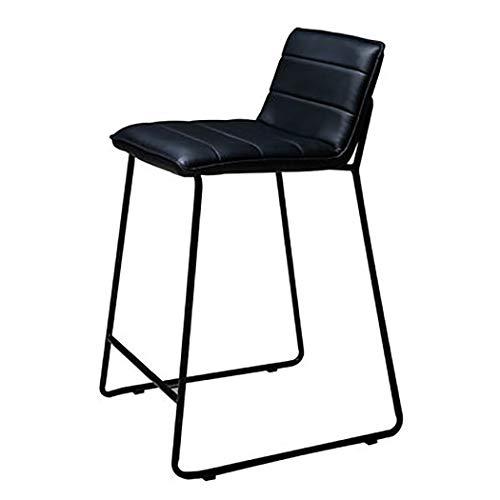 JQQJ barkruk, industrieel, smeedijzer, middellaags, barkruk, van PU-leer, antislip, creatieve lounge-stoel kruk hoog 46x52x85cm Zwart