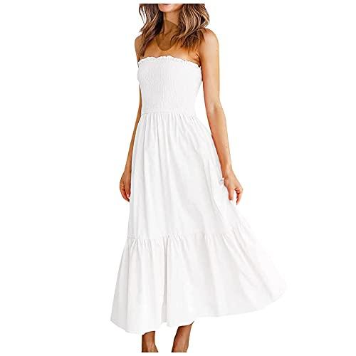 Liably Vestido de verano para mujer, sin tirantes, sin mangas, con empalmes, de un solo color, sexy, para el tiempo libre, elegante, de talle alto, a la moda, para la playa Blanco S