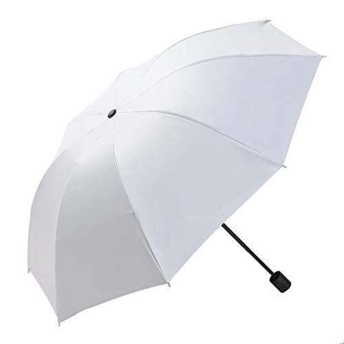 ZKHD Paraguas De Vinilo Automático, Paraguas Anti-Ultravioleta, Paraguas De Tres Plegables, De Moda Y Económica, De Doble Uso para La Lluvia O El Brillo,Beige