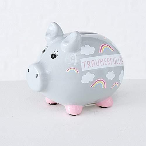 CasaJame Keramik Sparschwein Spardose mit Wolken und Regenbogen Traumerfüller 12x9x11cm