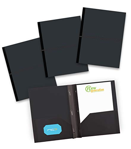 NEW GENERATION - Black Folders -2 Pocket Plastic Heavy Duty 3 Prongs Files Folders to use with Hole Punch Letter Size Papers - Included with Elastic Band Closure and Business Card Slot - 3 Pack