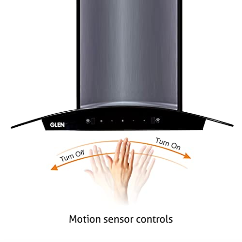 GLEN 90 cm 1050m3/hr Auto-Clean curved glass Kitchen Chimney Filterless Motion Sensor Touch Controls (6060 Black)