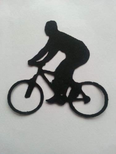 10x Man Boy Fahrrad Silhouette sterben Schnitte Formen Schwarz Karte