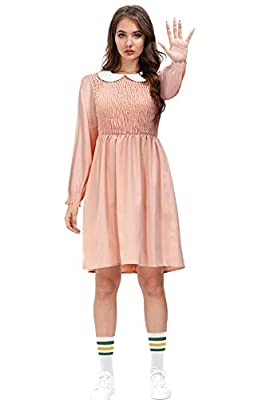 Halloween Womens Stranger Cosplay Party Dress Long Sleeve Peter Pan Collar Pink Eleven Costume L