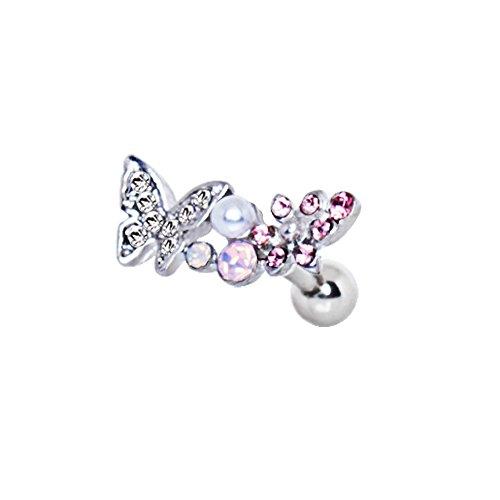 Perno conchiglia cartilagine tragus 12mm x 6mm Artistic Crystal rosa multi cristallo
