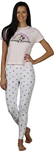 Disney Women's Tee and Sleep Pants 2 Piece Pajama Set, Blush Pink, Size Medium