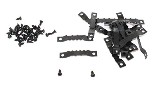 P-D-W 60 Bildaufhänger Zackenaufhänger inkl. Schrauben Sägezahn Aufhänger Doppel-Loch zweiseitig für Bilderrahmen Schwarz