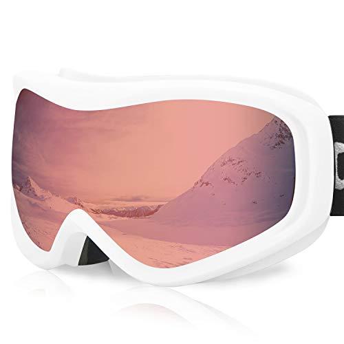 devembr Gafas de Esquí y Snowboard, Gafas Ski Mujer/Hombre, Gafas Nieve OTG, Anti-Niebla, Gafas Ventisca para Snowboard,Esquí,Skating y Otros Deportes de Nieve, Montura Blanca, Lente Rosa (VLT 51%)