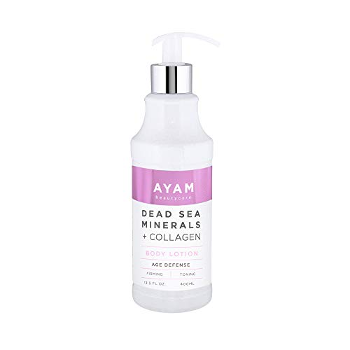 AYAM Beautycare Dead Sea Minerals + Collagen Body Lotion Firming and Toning Deep Moisture Age Defense Rejuvenate Tightening Skin and Body 13.5 Fl Oz