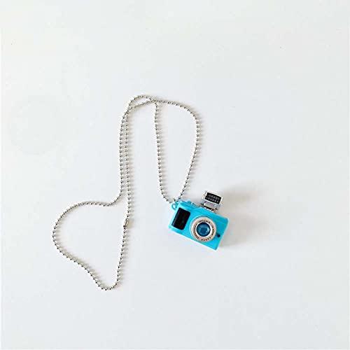 Collar Punk Flash Camera Collares Pendientes Música Luminoso Retro Cámara Pequeña Collar De Cadena Larga Joyería para Mujeres Hombre Azul