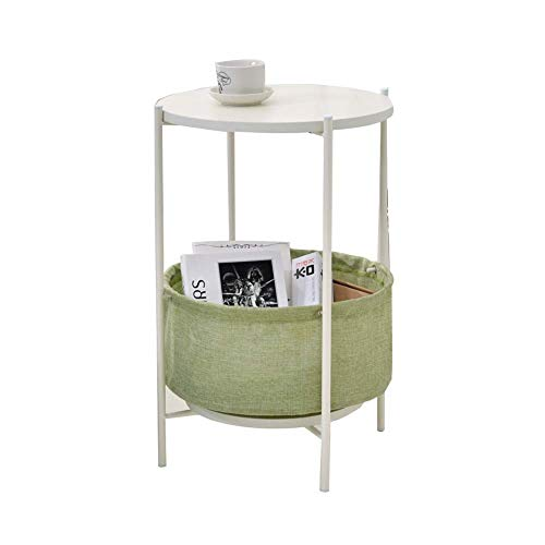 HYLH Side Tables,Tables Round Side End Table With Storage Basket, Modern Rustic Nightstand For Bedroom Espresso Bedside Table (color : Green, Size : 39**39 * 55cm)