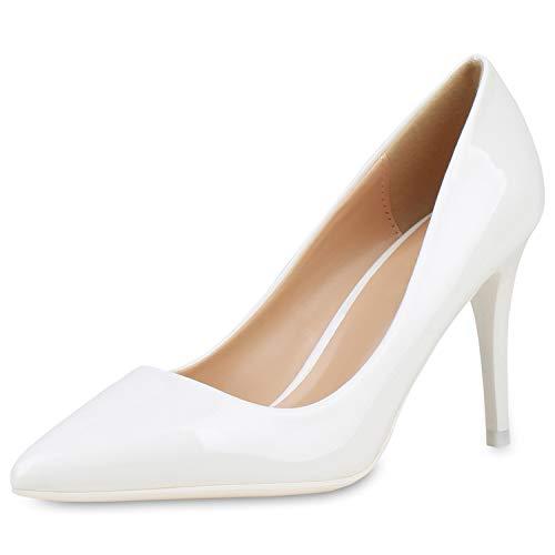 SCARPE VITA Damen Spitze Pumps Elegante Lack Schuhe Stiletto Abendschuhe High Heels Absatzschuhe 190440 Weiss 38