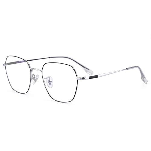 Ys-s Shop-Anpassung Retro Reintitan Optische Brillengestell Ultra Titanium Brillengestell for Männer und Frauen Trending Blue Hellbrille, leicht zu tragen, Computerbrille (Color : Silver)