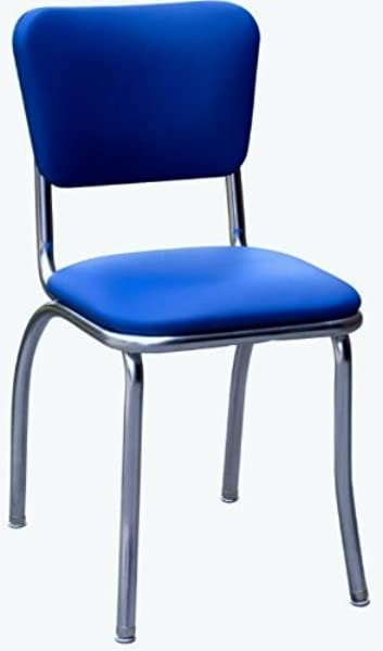 Richardson Seating 4110RBL Retro Chrome Kitchen Chair With Pulled Seat Royal Blue 1