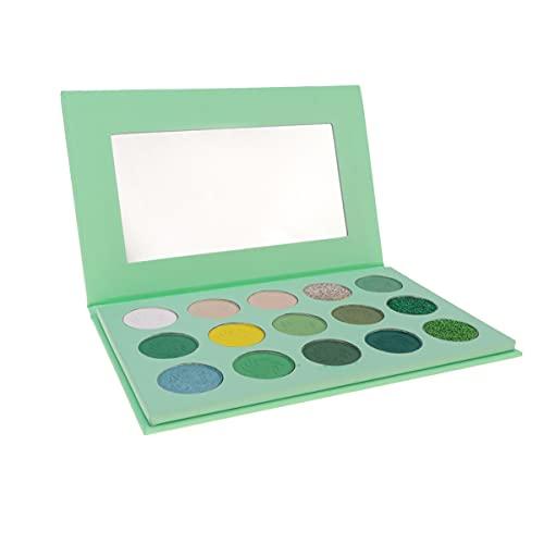 Minkissy 15 Colores Paleta de Sombra de Ojos Kits de Maquillaje de Sombra de Ojos para Fiesta de Cumpleaños Del Festival de Navidad (Verde)