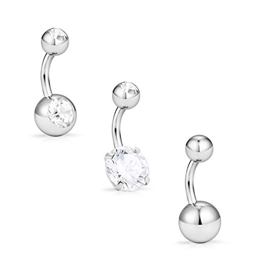 Hoeudjo 3PCS 14G 8mm Clear CZ Stainless Steel Short Petite Belly Button Rings Navel Body Piercing for Women Girls - Silver