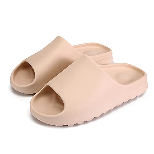 Unisex Pillow Slides Slippers, Super Soft Light Weight Non-Slip Quick Drying Thick Sole Bathroom Shower Slippers, Summer Indoor & Outdoor House Floor Home Slipper Shoes, EVA Platform Sandals for Men and Women (Tan, 45-46, numeric_11)