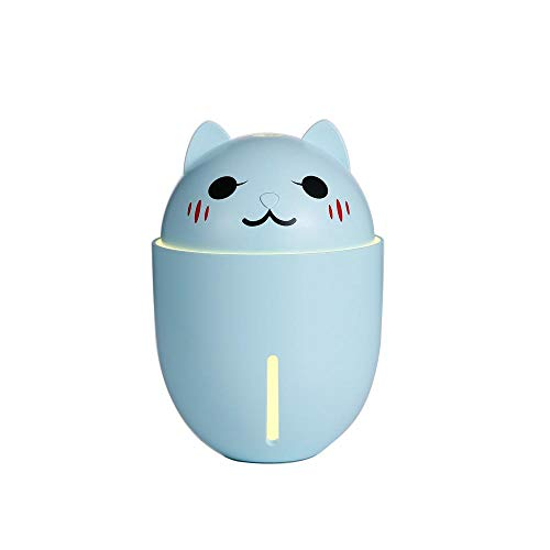 FNF Cute pet humidifier, floor-standing desktop three-in-one multi-function small fan night light usb desktop mini purifying air atomizer compatible with ultrasonic type home office blue